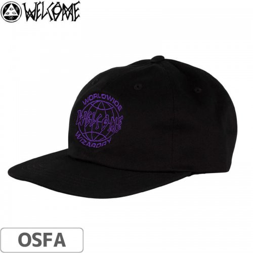【WELCOME ウェルカム スケートボード キャップ】Global Unstructured Snapback【ブラック×パープル】NO02