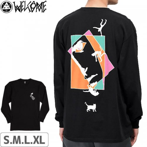 【WELCOME ウェルカム スケートボード ロンT】Faces Long Sleeve Tee【ブラック】NO8