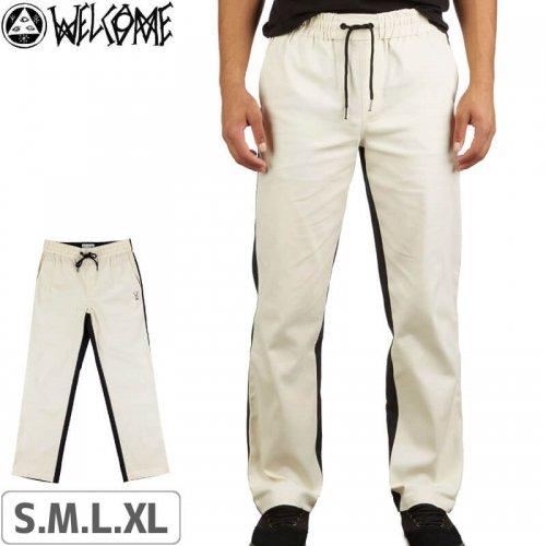 【WELCOME ウェルカム スケートボード チノ パンツ】Dark Wave Split-Color Elastic Pants【ブラック×ボーン】NO2
