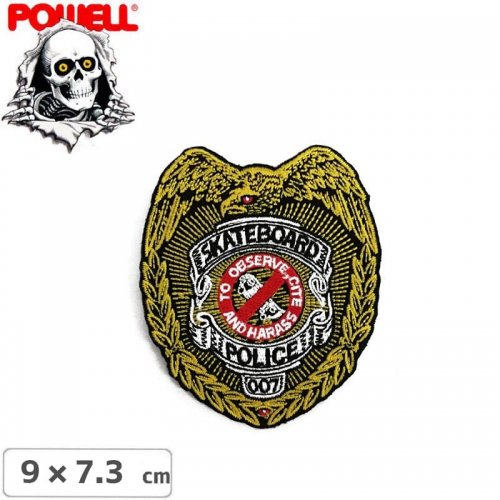 【パウエル POWELL スケボー ワッペン】POLICE PATCH SINGLE【7.3cm x 9cm】NO13