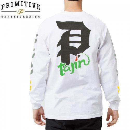 【PRIMITIVE プリミティブ スケボー ロング Tシャツ】TAJIN DIRTY P L/S TEE【ホワイト】NO5