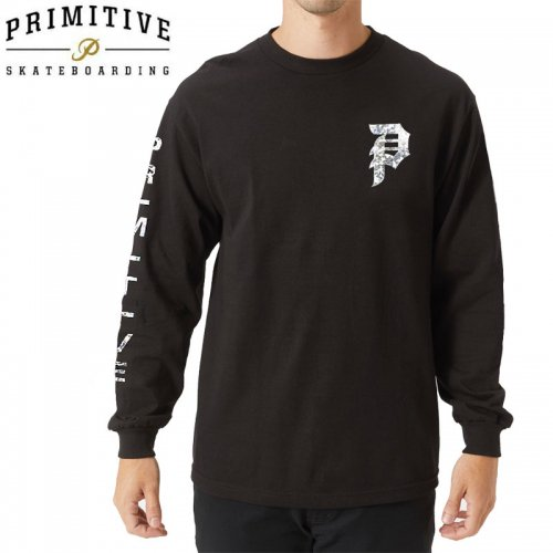 【PRIMITIVE プリミティブ スケボー ロング Tシャツ】DIRTY P HOLOGRAM FOIL L/S TEE【ブラック】NO7