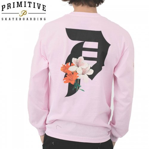 【PRIMITIVE プリミティブ スケボー ロング Tシャツ】DIRTY P LILY L/S TEE【ピンク】NO12