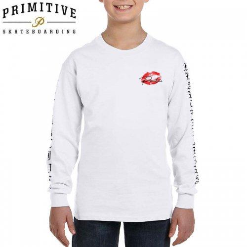 【PRIMITIVE プリミティブ キッズ 長袖Tシャツ】LOVERS YM L/S TEE【ホワイト】【ユース】NO2