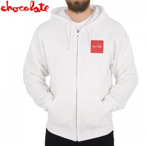【チョコレート CHOCOLATE スケボー パーカー】RED SQUARE ZIP HOODIE【ホワイト】NO38