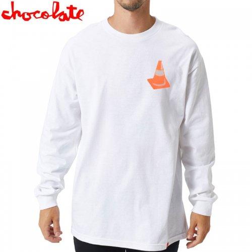 【チョコレート CHOCOLATE スケボー ロングTシャツ】SAFETY CONE L/S TEE【ホワイト】NO14