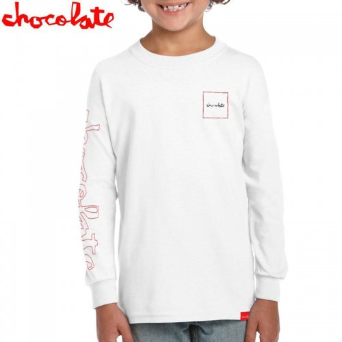 【CHOCOLATE チョコレート キッズ Tシャツ】CHUNK OUT LINE L/S TEE YOUTH【ホワイト】NO3