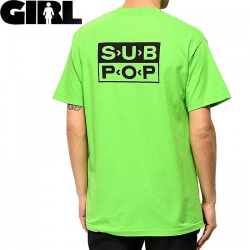 【ガール GIRLSKATEBOARD  スケボー Tシャツ】SUB POP LOGO TEE【ライムグリーン】NO302