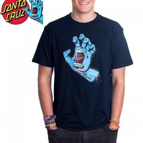 【サンタクルズ SANTA CRUZ スケボー Tシャツ】SCREAMING HAND PREMIUM S/S TEE【ネイビー】スクリーミングハンド NO115