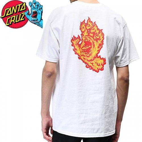 【サンタクルズ SANTA CRUZ スケボー Tシャツ】FLAME HAND S/S TEE【ホワイト】スクリーミングハンド NO121