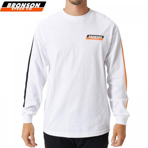 【BRONSON SPEED CO ブロンソン スケボー ロンT】RACING STRIPES L/S TEE【ホワイト】NO1