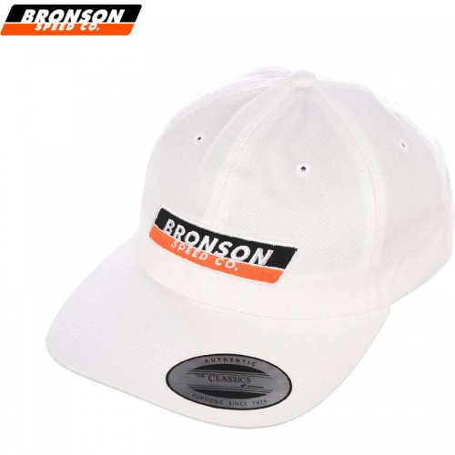 【BRONSON SPEED CO ブロンソン スケートボード キャップ】STRIP STRAPBACK HAT【ホワイト】NO4