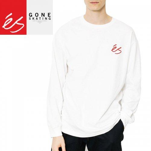 【エス ES FOOTWEAR スケボー ロングTシャツ】ES SCRIPT L/S TEE【ホワイト】NO1