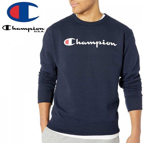 【CHAMPION チャンピオン スウェット】POWERBLEND FLEECE CREW SCRIPT LOGO GF88H USAモデル トレーナー【ネイビー】NO1