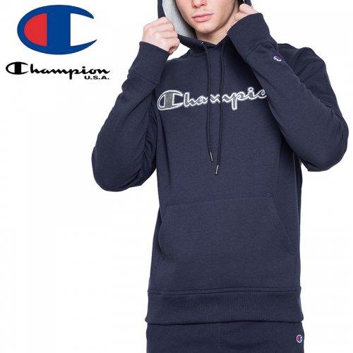 【CHAMPION チャンピオン パーカー】POWERBLEND PULLOVER HOODIE CHAINSTITCH LOGO GF89H USAモデル【ネイビー】NO6