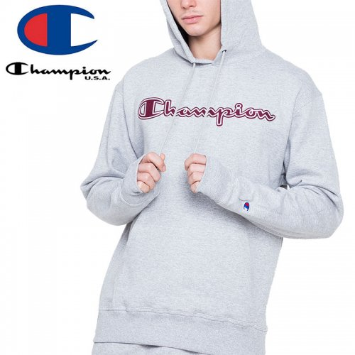 【CHAMPION チャンピオン パーカー】POWERBLEND PULLOVER HOODIE CHAINSTITCH LOGO GF89H USAモデル【オックスフォードグレー】NO7