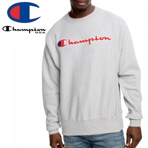 【CHAMPION チャンピオン スウェット】REVERSE WEAVE CHENILLE LOGO CREW GF70 Y07731 USAモデル リバースウィーブ【グレー】NO14