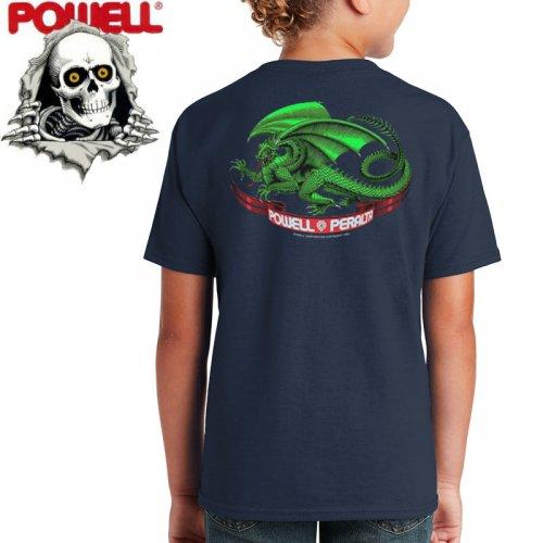 【パウエル POWELL キッズ Tシャツ】OVAL DRAGON YOUTH TEE ネイビー【ユースサイズ】NO7