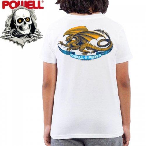 【パウエル POWELL キッズ Tシャツ】OVAL DRAGON YOUTH TEE ホワイト【ユースサイズ】NO8
