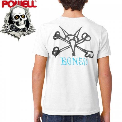 【パウエル POWELL キッズ Tシャツ】RAT BONES YOUTH TEE ホワイト【ユースサイズ】NO9