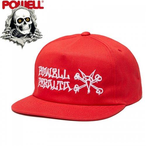 【パウエル POWELL PERALTA スケボー キャップ】RAT BONES SNAPBACK HAT【レッド】NO19