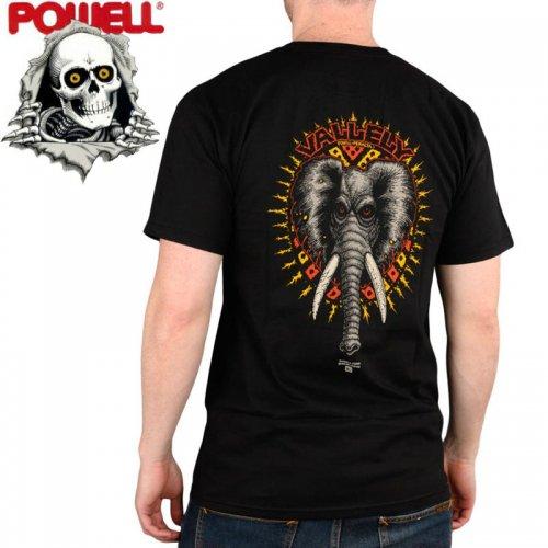 【パウエル POWELL スケボー Tシャツ】VALLELY ELEPHANT TEE【ブラック】NO66