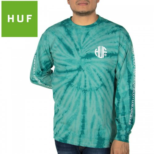 【HUF ハフ ロング Tシャツ 長袖】REGIONAL TIE-DYE L/S TEE【ディープジャングル】NO7