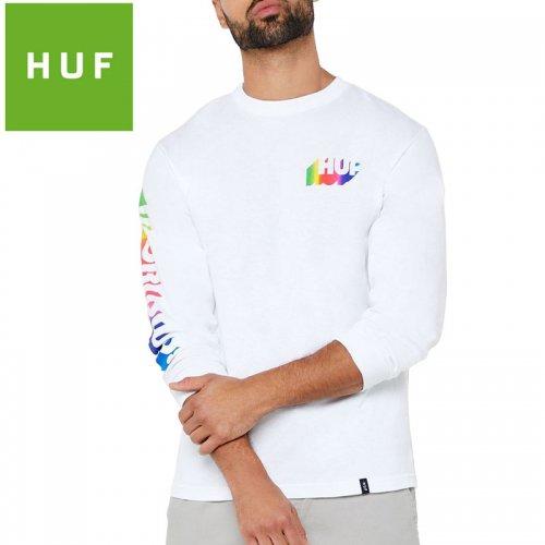 【HUF ハフ ロング Tシャツ 長袖】AURA L/S TEE【ホワイト】NO10