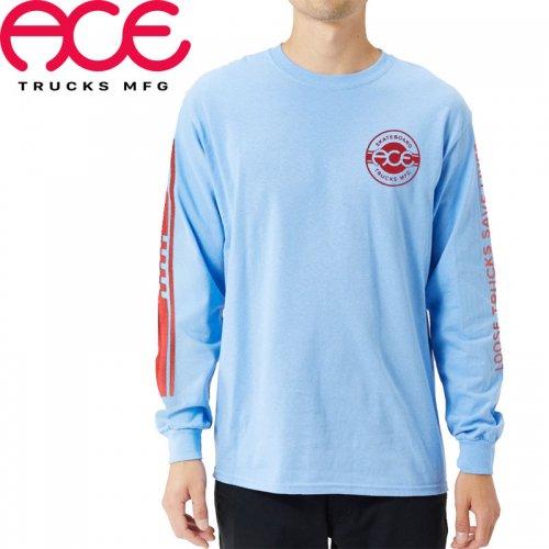 【ACE TRUCKS エース スケボー ロング Tシャツ】RETRO JERSEY LONGSLEEVE TEE【パウダーブルー】NO2