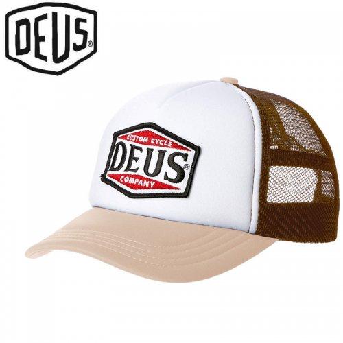 【DEUS EX MACHINA デウス バイク サーフ キャップ 帽子】USモデル AMERICAN TWIN TRUCKER HAT【ベージュ】NO31