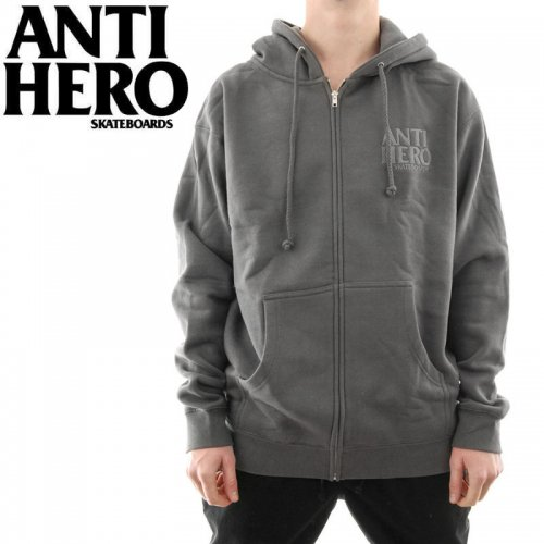 【ANTI HERO HOOD アンチヒーロー パーカー】LIL BLACK HERO EMBROIDERED ZIP HOODIE【チャコールグレー】NO6