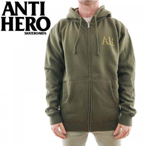 【ANTI HERO HOOD アンチヒーロー パーカー】DROP HERO ZIP HOODIE【アーミーグリーン】NO7