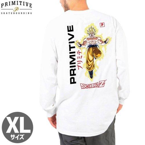 【PRIMITIVE プリミティブ スケボー ロング Tシャツ】GOKU POWER UP LS TEE ドラゴンボールコラボ【ホワイト】NO16