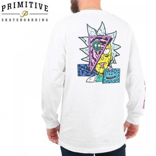 【PRIMITIVE プリミティブ スケボー ロング Tシャツ】RICK DESTRUCTED LS TEE リック・アンド・モーティコラボ【ホワイト】NO18