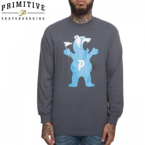 【PRIMITIVE プリミティブ スケボー ロング Tシャツ】MASCOT LS TEE GRIZZRY コラボ【チャコールグレー】NO23