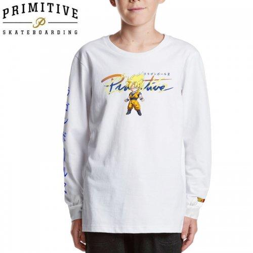 【PRIMITIVE プリミティブ キッズ 長袖Tシャツ】NUEVO GOKU SAIYAN LS TEE ドラゴンボールコラボ【ホワイト】NO4