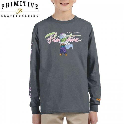 【PRIMITIVE プリミティブ キッズ 長袖Tシャツ】NUEVO SD PICCOLO LS TEE ドラゴンボールコラボ【チャコールグレー】NO6