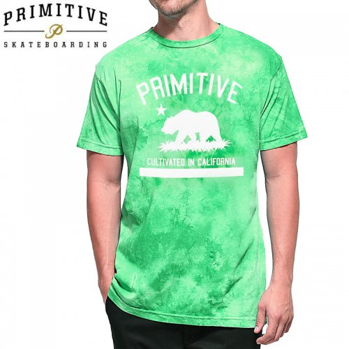 【PRIMITIVE プリミティブ スケボー Tシャツ】CULTIVATED WASHED TEE【ライム タイダイ】NO17