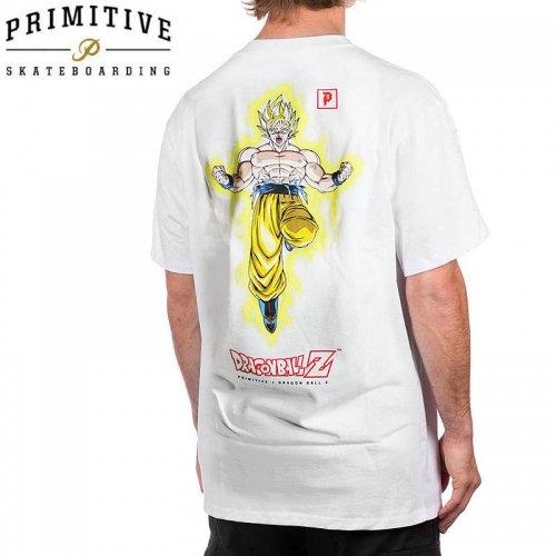 【PRIMITIVE プリミティブ スケボー Tシャツ】GOKU POWER UP TEE ドラゴンボールコラボ【ホワイト】NO24