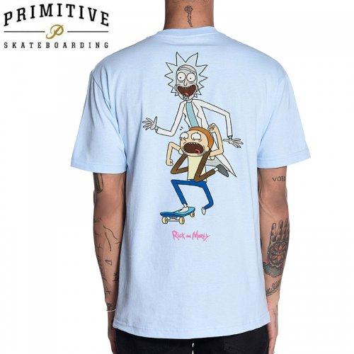 【PRIMITIVE プリミティブ スケボー Tシャツ】CLASSIC P RNM SKATE TEE リック・アンド・モーティコラボ【パウダーブルー】NO29