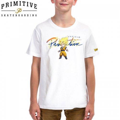 【PRIMITIVE プリミティブ キッズ Tシャツ】NUEVO GOKU SAIYAN SD YM TEE ドラゴンボールコラボ【ホワイト】NO10