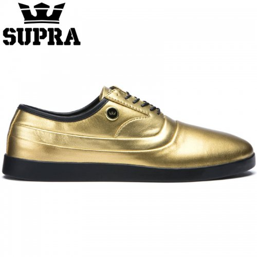 【SUPRA スープラ スケート シューズ】THE GRECO GOLD BLACK レザー【ゴールド】NO7