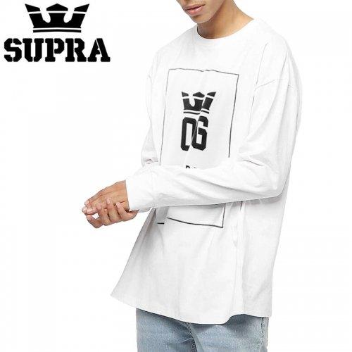 【スープラ SUPRA スケボー ロングTシャツ】OG INTERNATIONAL L/S TEE【ホワイト】NO1