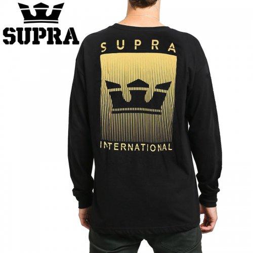 【スープラ SUPRA スケボー ロングTシャツ】CROWN FADE L/S TEE【ブラック】NO2