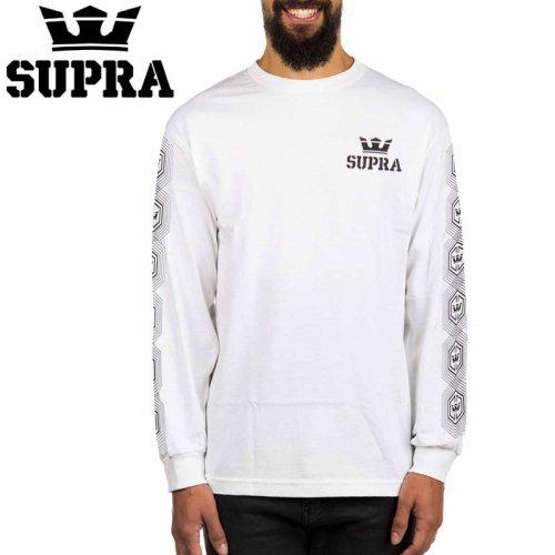 【スープラ SUPRA スケボー ロングTシャツ】HEX CROWN L/S TEE【ホワイト】NO4