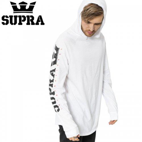 【スープラ SUPRA スケボー ロングTシャツ】SPLTTR TYP PRM フード付き L/S【ホワイト】NO6
