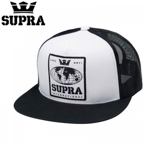 【スープラ SUPRA スケボー キャップ】INTERNATIONS TRUCKER HAT【ホワイトxブラック】NO3
