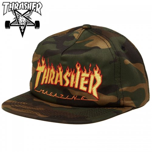【スラッシャー THRASHER メッシュ キャップ】FLAME SNAPBACK CAP カモ NO52
