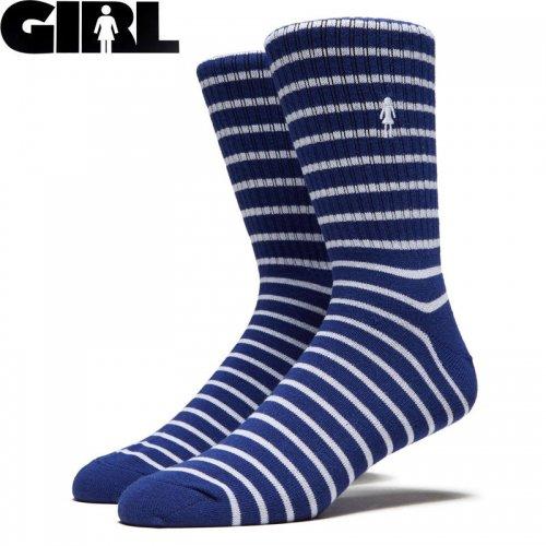 【ガール GIRL スケボー ソックス】STRIPED SOCKS ブルー NO24