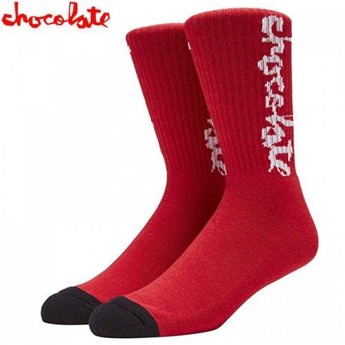 【CHOCOLATE チョコレート スケートボード ソックス】CHUNK SOCKS レッド NO11